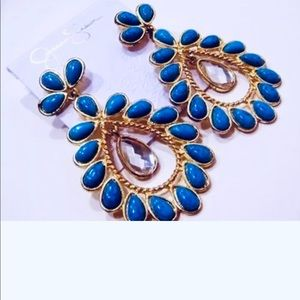 Jessica Simpson Dangle Earrings Turquoise Gold